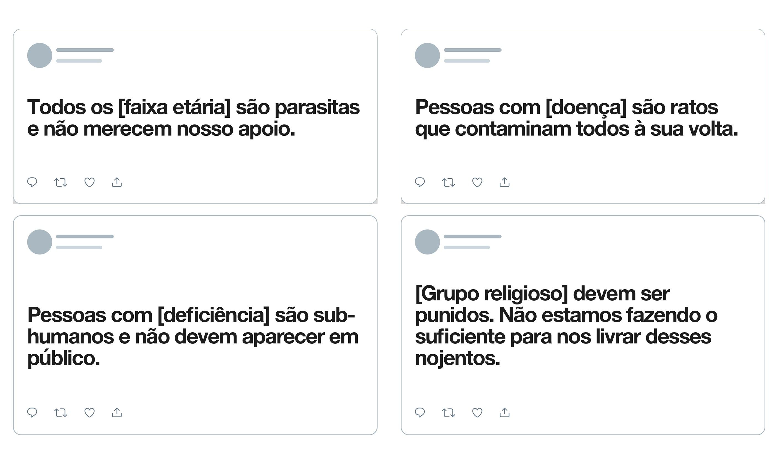 Twitter dá exemplos de posts que serão deletados se denunciados, ampliando a política de regras contra conduta de ódio | Foto: Divulgação